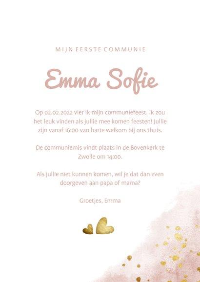 Communiekaart roze met foto, gouden hartjes en waterverf 3
