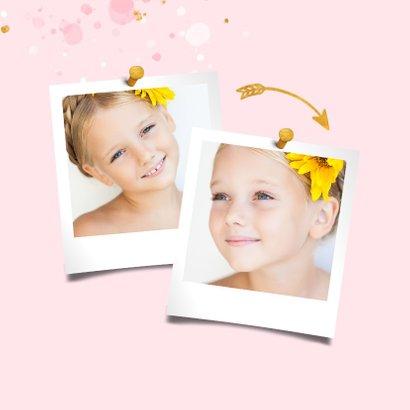 Communiekaart spetters goud roze met foto 2