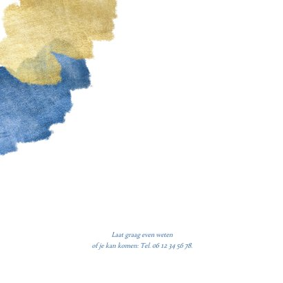 Communiekaart uitnodiging blauw aquarel metallic 2