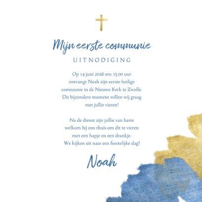 Communiekaart uitnodiging blauw aquarel metallic 3