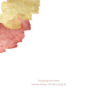 Communiekaart uitnodiging roze aquarel metallic 2