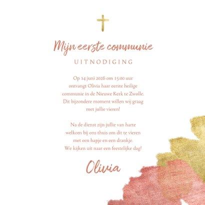 Communiekaart uitnodiging roze aquarel metallic 3