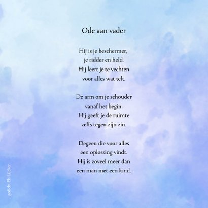 Condoleance grote waterverf V met gedicht over vader  2