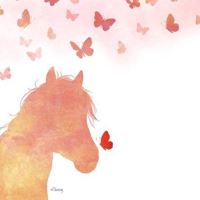 Condoleance Huisdier Paard Pony met vlinders 2