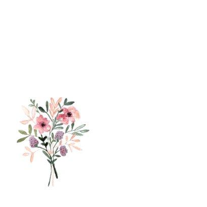 Condoleance kaart met bloemen in aquarel - natuur 2