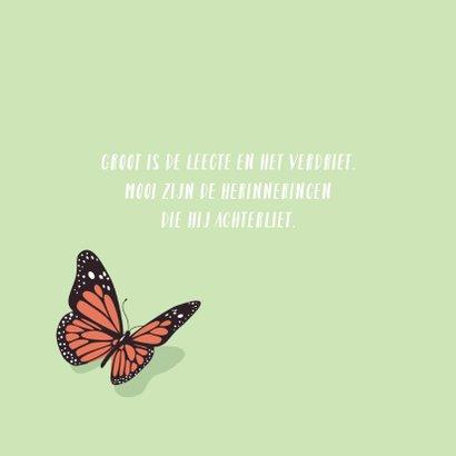 Condoleance kaartje met sierlijke mooie vlinder 2