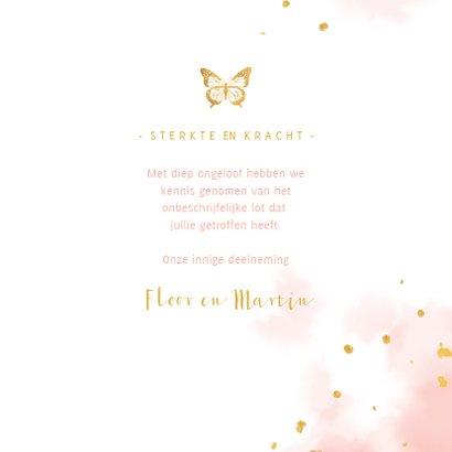 Condoleance met gouden vlinder en waterverf 3