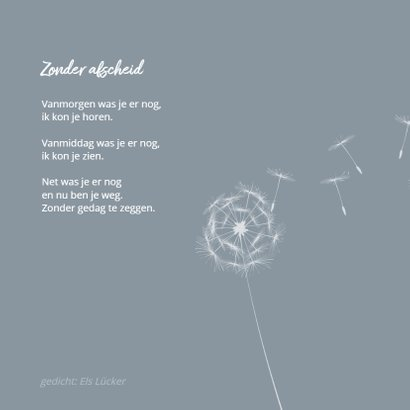 Condoleance paardenbloem en gedicht zonder afscheid 2