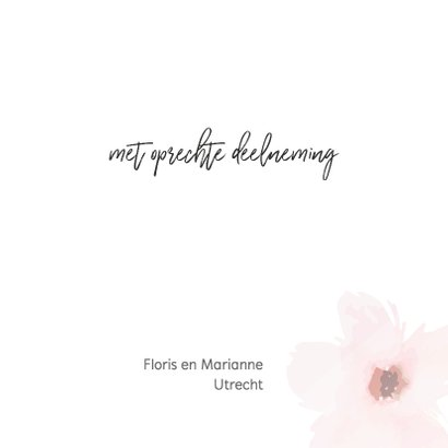 Condoleance - roze bloemen gedicht 3