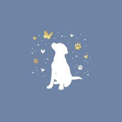 Condoleancekaart met hond, vlinder, hartjes en voetstapjes 2
