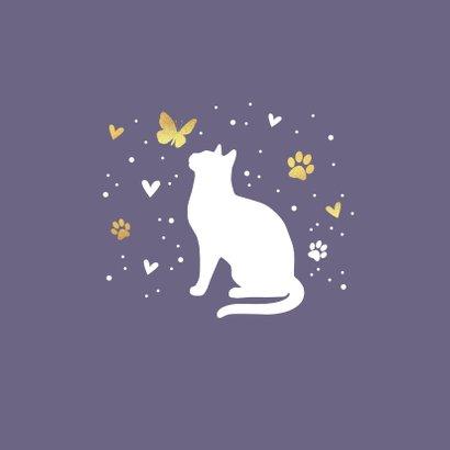 Condoleancekaart met kat, vlinder, hartjes en voetstapjes 2