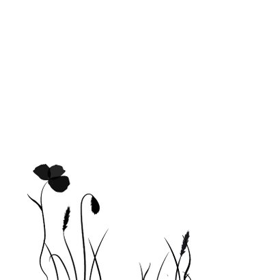 Condoleancekaart met silhouette van bloemen en siergras  2