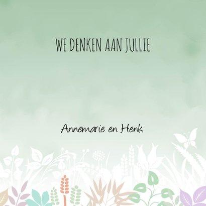 Condoleancekaart met vlinder en hart op groen 3