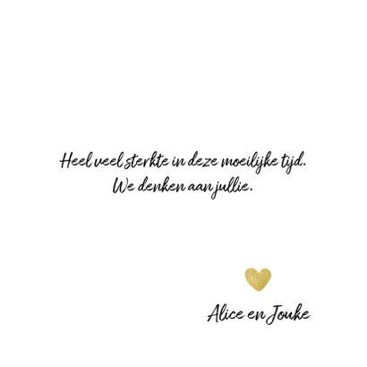 Condoleancekaart roos met gouden hartje als hart 3