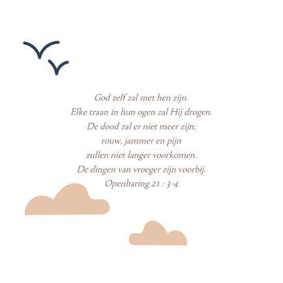 Condoleancekaart sterkte met illustratie zon wolk vogels 2