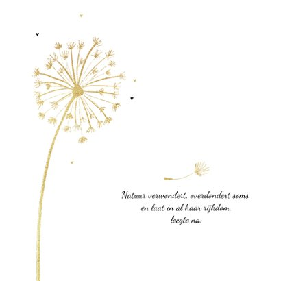 Condoleancekaart stijlvol paardenbloem goud 2