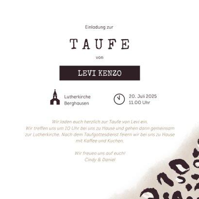 Coole Einladung zur Taufe Foto & Leopardenprint 3