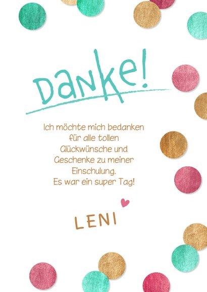 Dankeskarte Einschulung Konfetti & Fotocollage pink 3