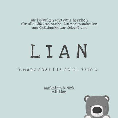 Dankeskarte Geburt Bär blau Foto Innenseite 3