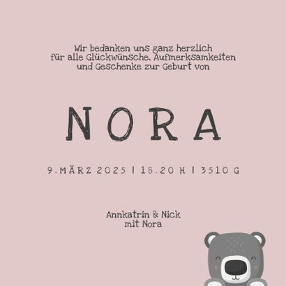 Dankeskarte Geburt Bär rosa Foto Innenseite 3