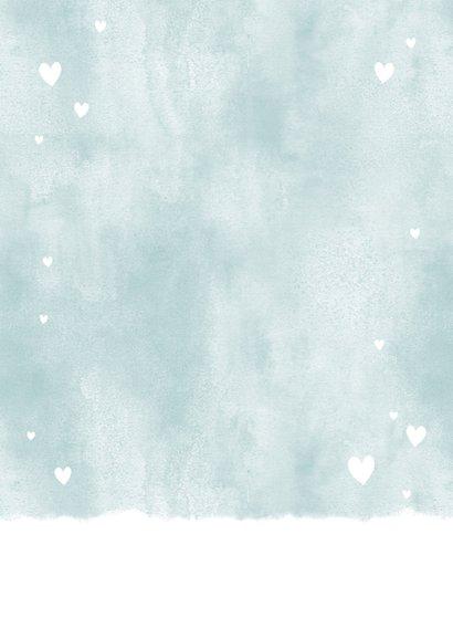 Dankeskarte Geburt blau Fotos Aquarell mit Herzchen  Rückseite