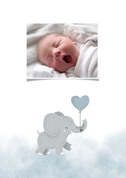 Dankeskarte Geburt Foto und Elefant blauer Luftballon 2