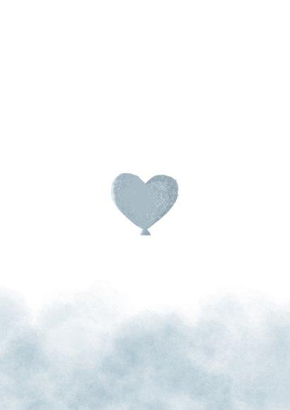 Dankeskarte Geburt Foto und Elefant blauer Luftballon Rückseite