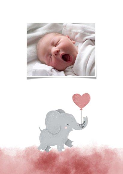 Dankeskarte Geburt Foto und Elefant rosa Luftballon 2