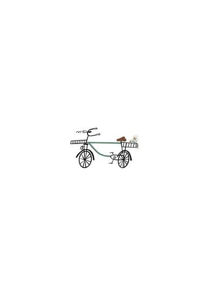 Dankeskarte Geburt Foto & Giraffe auf Fahrrad Rückseite