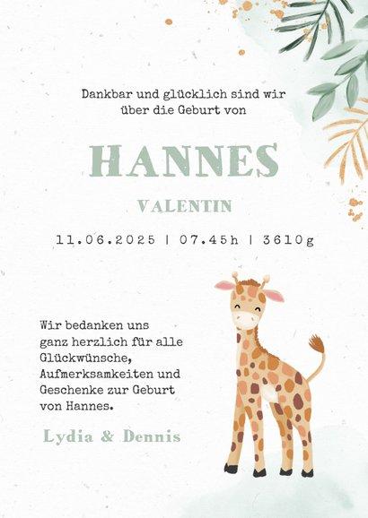 Dankeskarte Geburt Giraffe Wasserfarbe grün Foto innen 3