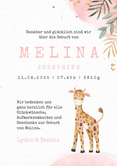 Dankeskarte Geburt Giraffe Wasserfarbe rosa Foto innen 3