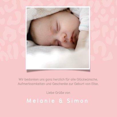 Dankeskarte Geburt Leopardenprint rosa Foto innen 2