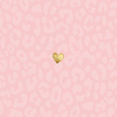 Dankeskarte Geburt Leopardenprint rosa Foto innen Rückseite