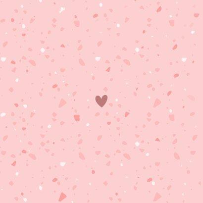 Dankeskarte Geburt Terrazzo-Look rosa Foto innen Rückseite