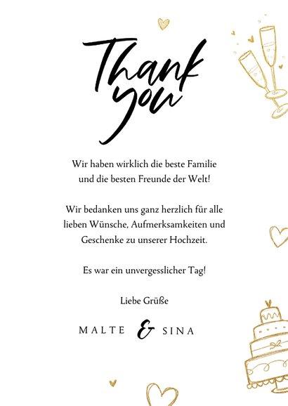 Dankeskarte Hochzeit Doodles & Fotocollage 'Thanks' 3