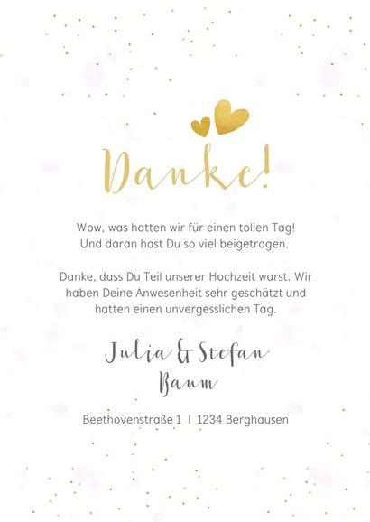 Dankeskarte Hochzeit mit 3 Fotos und goldener Schrift 3