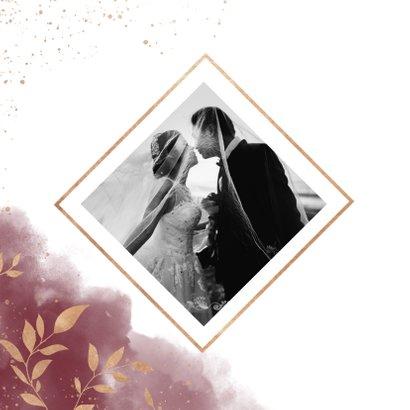 Dankeskarte Hochzeit mit Foto in rot mit goldenen Zweigen 2