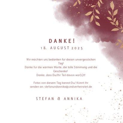 Dankeskarte Hochzeit mit Foto in rot mit goldenen Zweigen 3