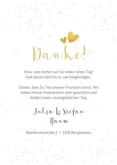 Dankeskarte Hochzeit mit Fotocollage und goldener Schrift 3