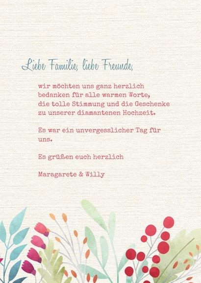 Dankeskarte Hochzeitsjubiläum Blumendekor 3