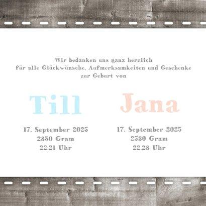 Dankeskarte Holzlook & Fotos Geburt Zwilling 3