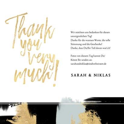 Dankeskarte mit eigenem Foto und gold-schwarzen Farbstreifen 3