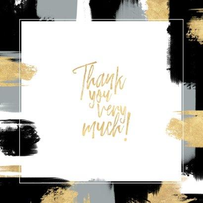 Dankeskarte mit eigenem Foto und gold-schwarzen Farbstreifen Rückseite