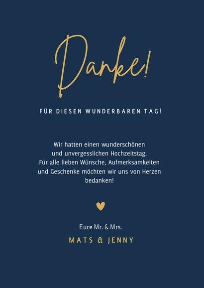Dankeskarte mit Foto Hochzeit klassisch Dunkelblau 3