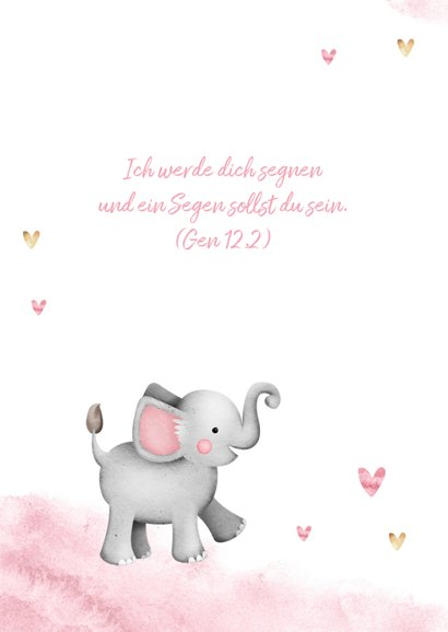 Dankeskarte Taufe Aquarell Fotos, Herzen und Elefant 2