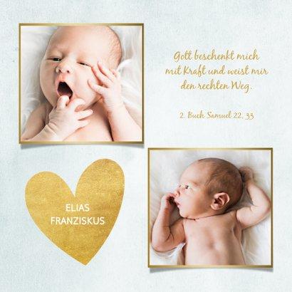 Dankeskarte Taufe blau Fotos & Goldherzen 2