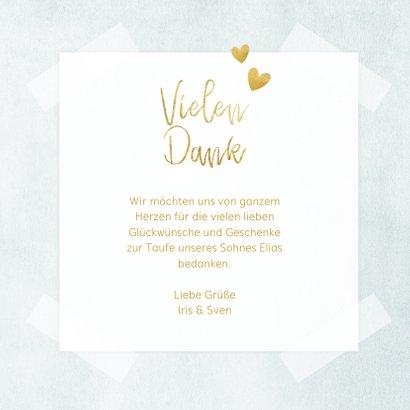 Dankeskarte Taufe blau Fotos & Goldherzen 3