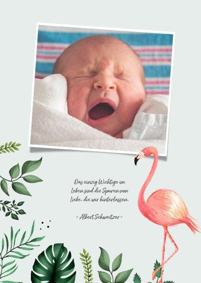 Dankeskarte Taufe Foto, Flamingos und Blätter 2