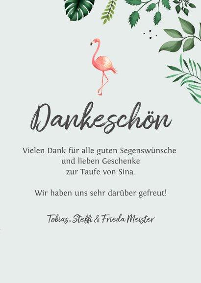 Dankeskarte Taufe Foto, Flamingos und Blätter 3