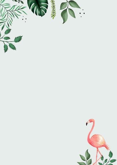 Dankeskarte Taufe Foto, Flamingos und Blätter Rückseite